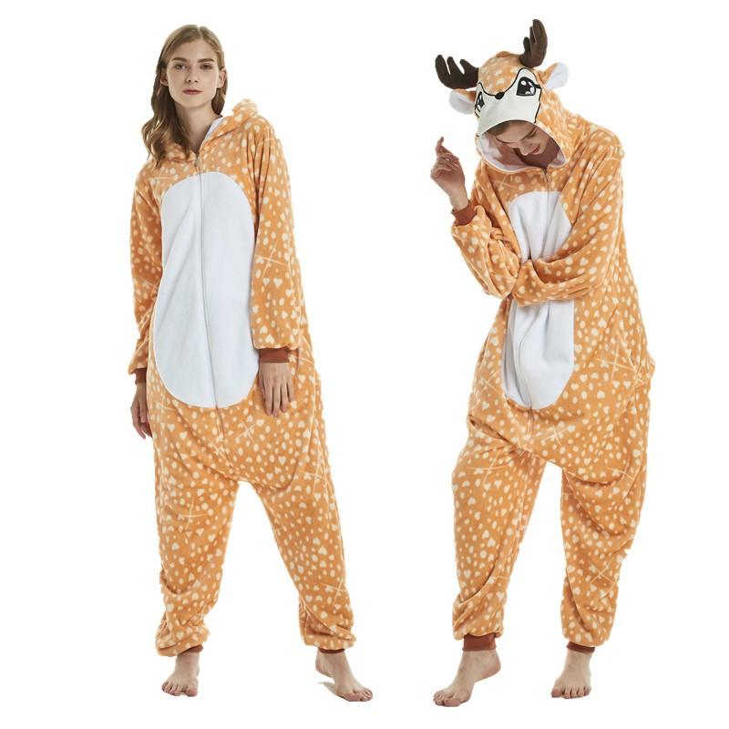 Unisex Adult Pajamas Brown Deer Animal Cosplay Costume Pajamas