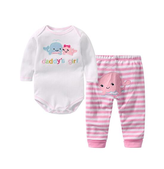 Baby Girl Print Dolphin Two Pieces Long Sleeve Cotton Bodysuit and Pant