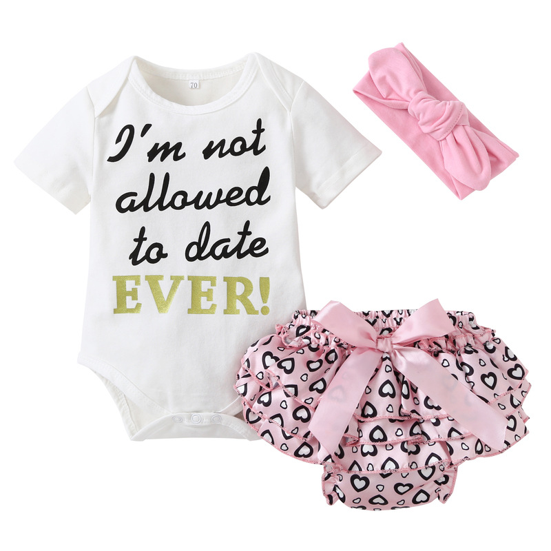 3PCS Baby Girl Hearts Short Sleeve Romper Pants Bodysuit Headband Clothes Outfits Set