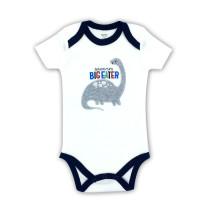 Baby Boy Print Grey Dinosaur Short Sleeve Cotton Bodysuit