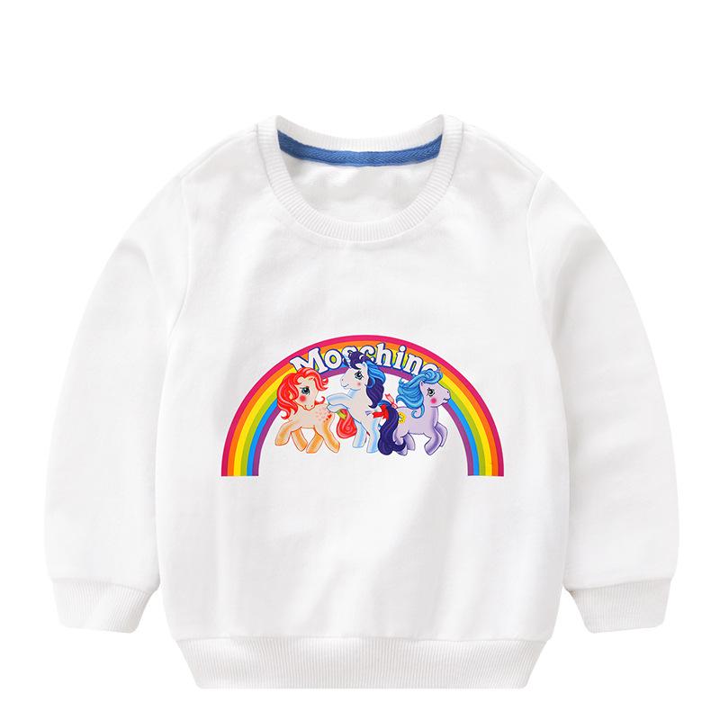Toddler Girl Print Litter Pony Rainbow Hooded Sweatshirt