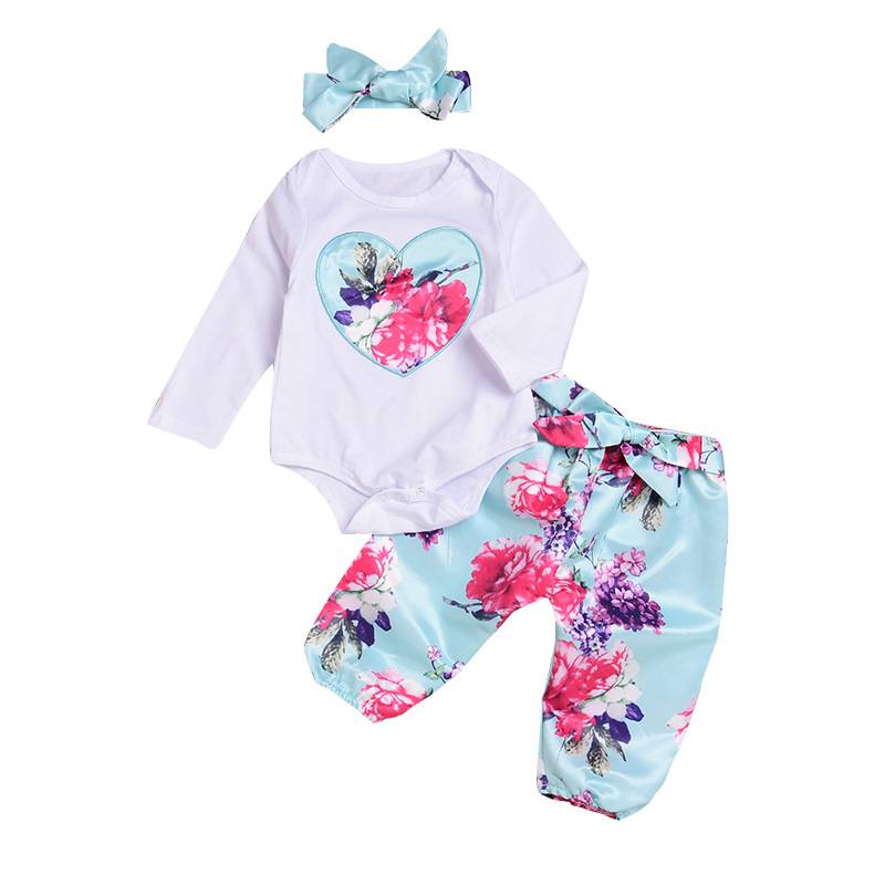 3PCS Baby Girl Print Flowers Long Sleeve Romper Pants Bodysuit Headband Clothes Outfits Set