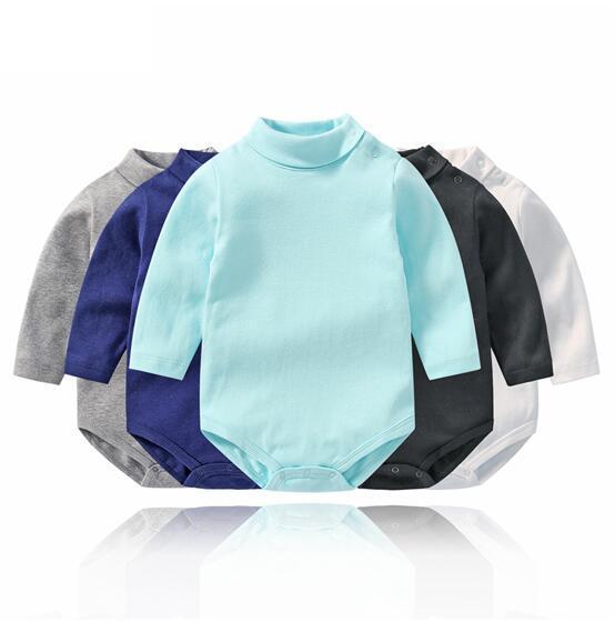 Baby Boy Pure Color High Collar Long Sleeve Cotton Bodysuit