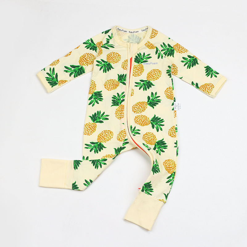 Baby Girl Zip-Up Yellow Pineapple Print Cotton Long Sleeve One piece