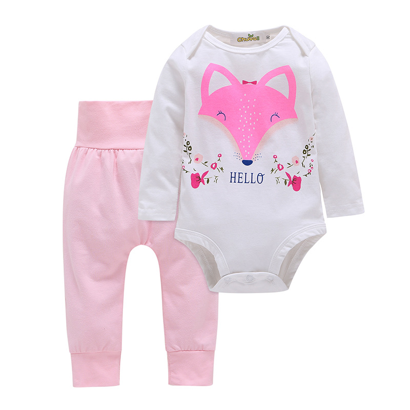 Baby Girl Print Fox Two Pieces Long Sleeve Cotton Bodysuit and Pant