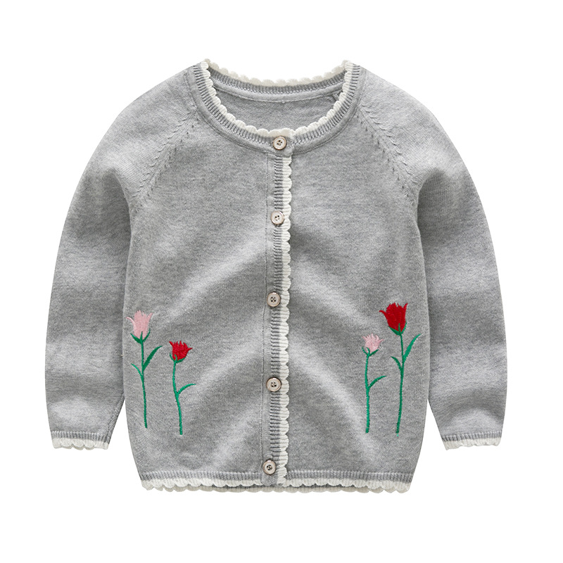 Toddler Girl Knit Cardigan Sweater Embroidery Flowers Pattern