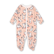 Baby Girl Pink Rabbits Footed Pajamas Sleepwear Cotton Infant One-piece(0-1Year)
