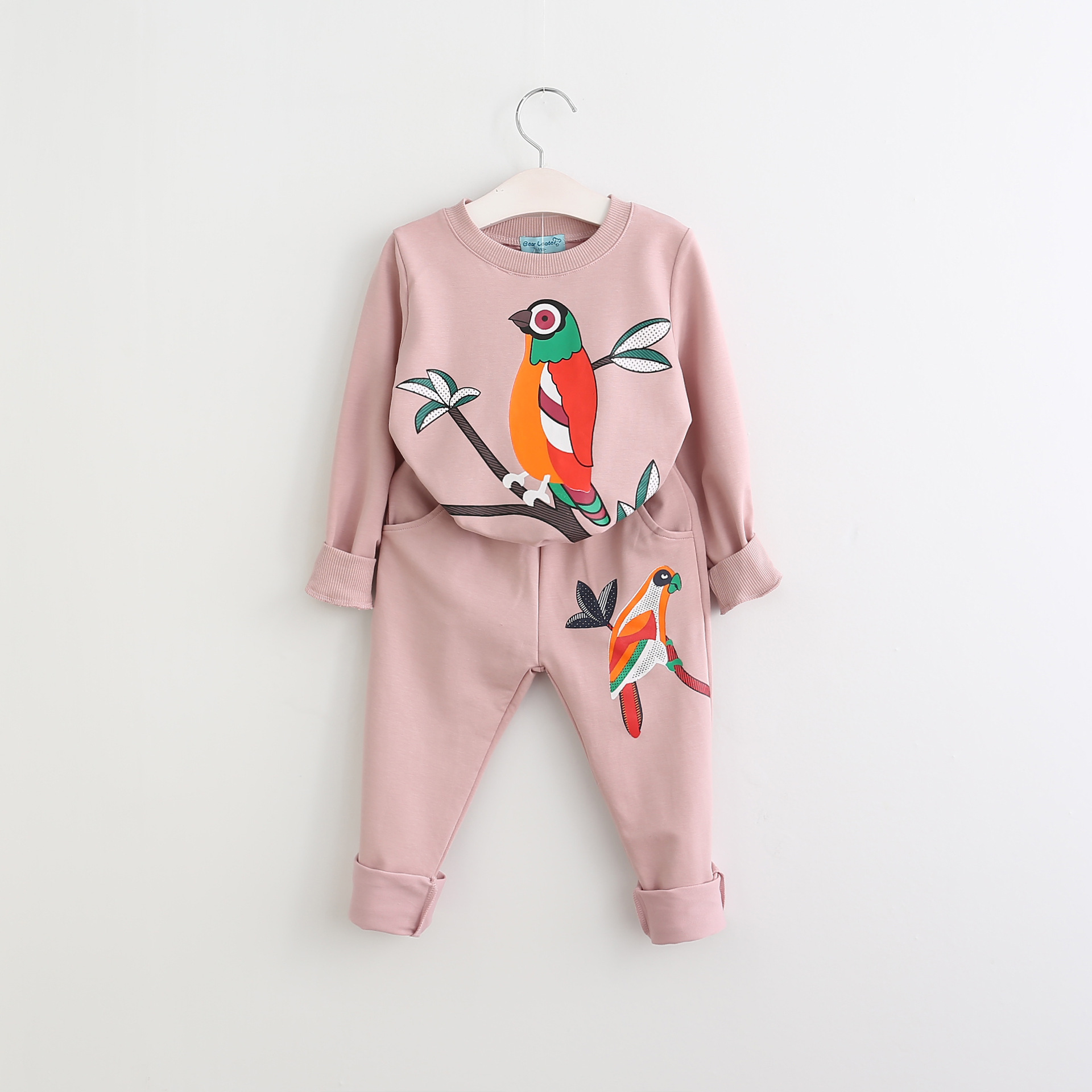 Toddler Girl 2 Pieces Print Colorful Birds Long Sleeve Sweatshirt and Jogger Pants Clothes Set Outfit