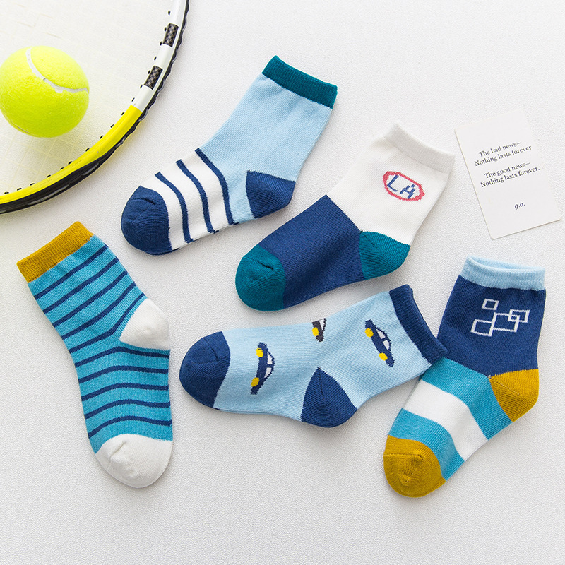 5 Pairs Baby Toddler Boy Blue Print Slogan Socks