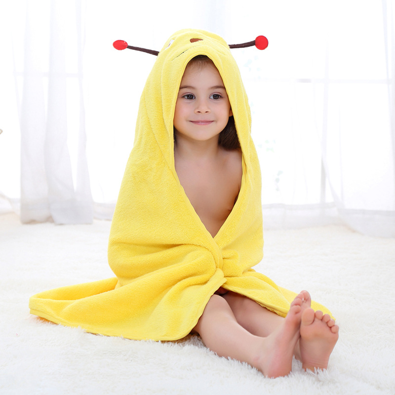 Baby Yellow Bee Face Hooded Bathrobe Towel Bathrobe Cloak Size 28 *55