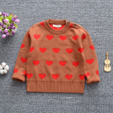 Toddler Girl Knit Pullover Red Hearts Pattern Sweater