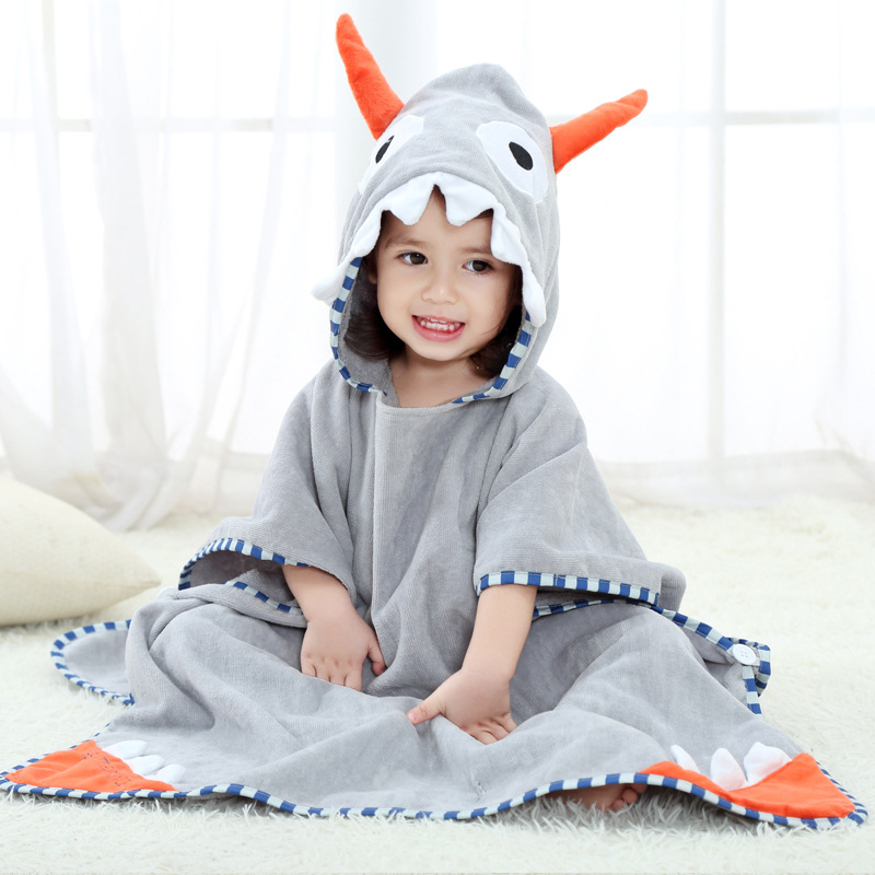 Baby Grey Ox Horn Face Hooded Bathrobe Towel Bathrobe Cloak Size 28 *55