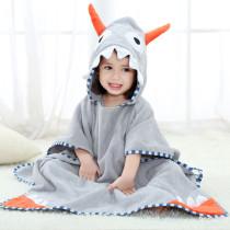Baby Grey Ox Horn Face Hooded Bathrobe Towel Bathrobe Cloak Size 28 *55