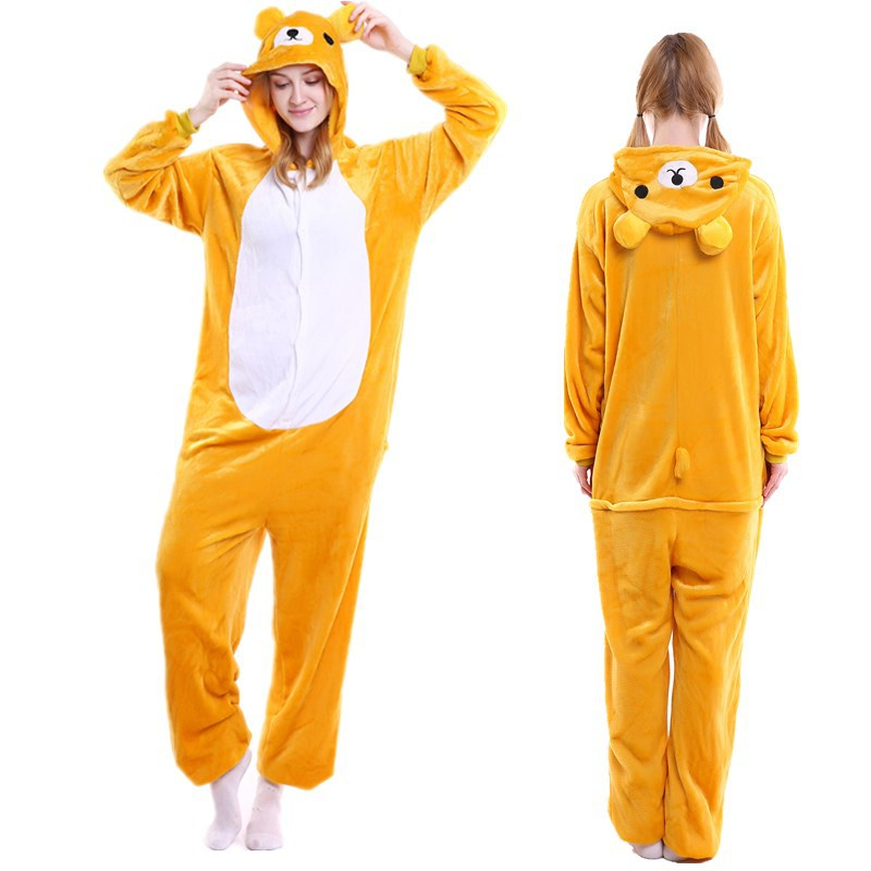 Unisex Adult Pajamas Yellow Bear cat Animal Cosplay Costume Pajamas
