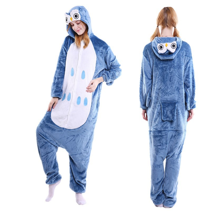 Unisex Adult Pajamas Blue Owl Animal Cosplay Costume Pajamas