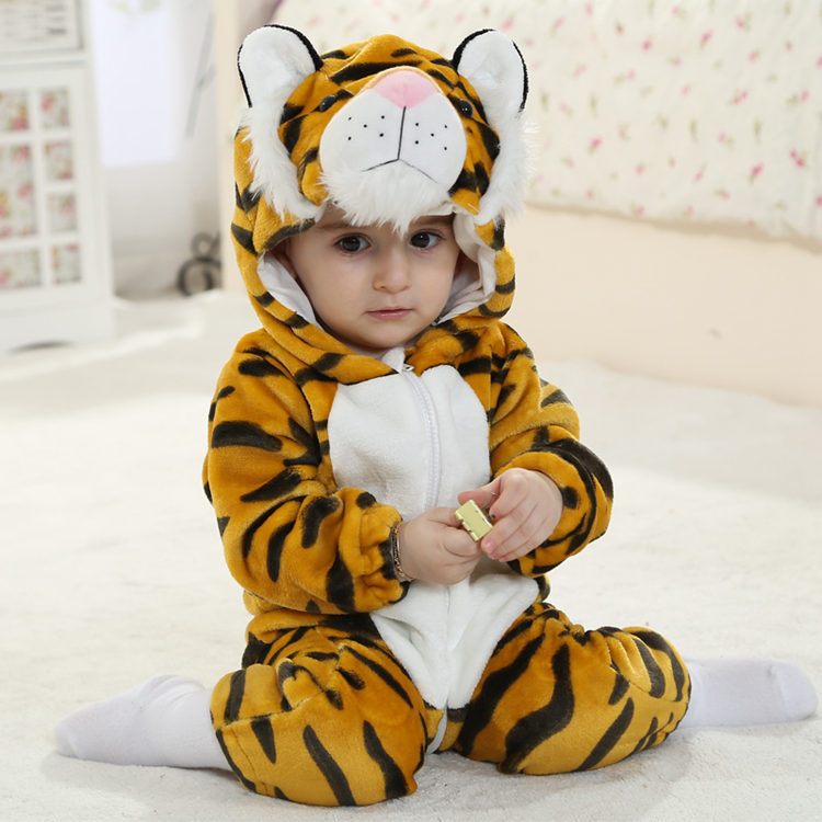 Baby Yellow Tiger Onesie Kigurumi Pajamas Kids Animal Costumes for Unisex Baby