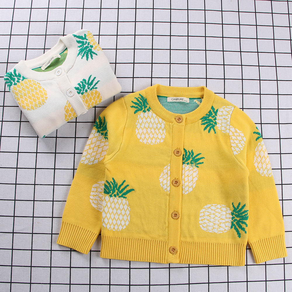 Toddler Girl Knit Cardigan Fruit Pineapples Thin Sweater
