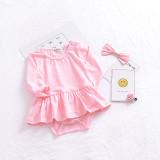 Baby Girl Pure Colors Peplum Cotton Long Sleeve Bodysuit