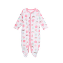 Baby Girl Pink Cups Footed Pajamas Sleepwear Cotton Infant One-piece(0-1Year)