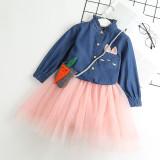 Toddler Girl 2 Pieces Blue Denim Long Sleeves Shirt and Tutu Skirt Set Outfit