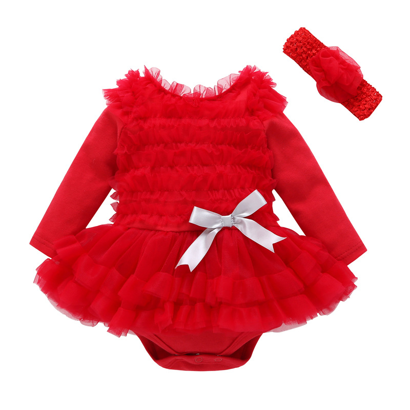 Baby Girl Pure Colors Tutu Dress add Headband Cotton Long Sleeve Bodysuit