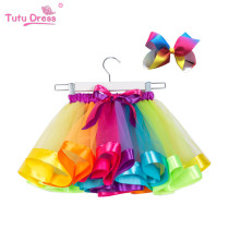 Toddler Girl Rainbow Layered Tulle Tutu Skirt Add Free Bow Clip