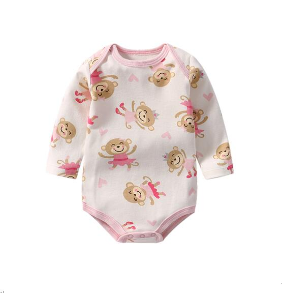 Baby Girl Print Monkeys Long Sleeve Cotton Bodysuit