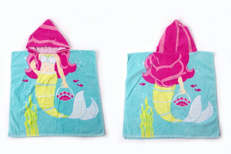 Baby Blue Mermaid Face Hooded Bathrobe Towel Bathrobe Cloak
