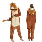 Unisex Adult Pajamas Brown Lion Animal Cosplay Costume Pajamas