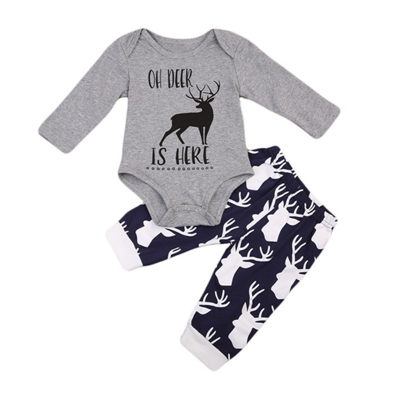 Baby Boy Print Slogan Deers Long Sleeve Bodysuit and Pants Clothes Outfits Set