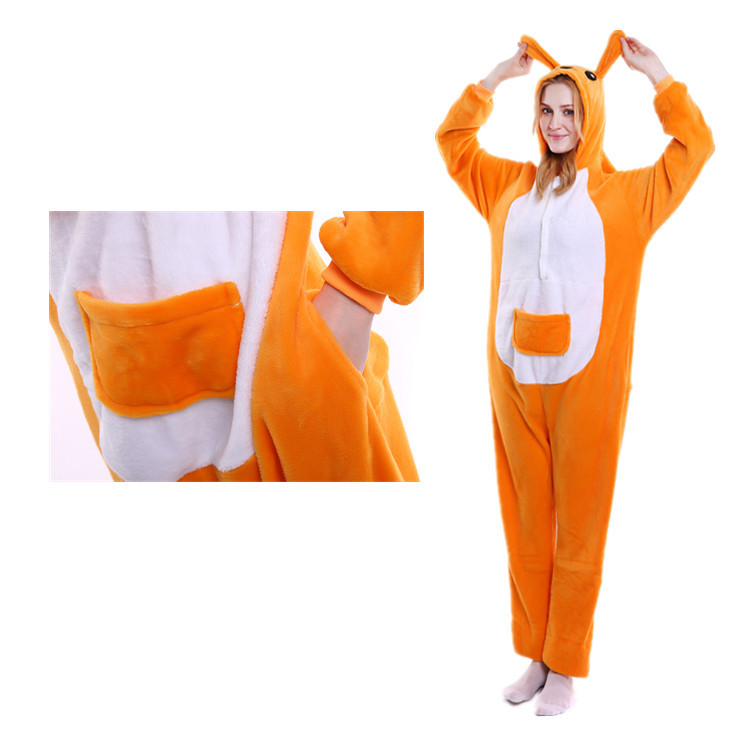 Unisex Adult Pajamas Brown Kangaroo Animal Cosplay Costume Pajamas
