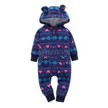 Baby Girl Zip-Up Geometry Stripes Polar Fleece Long Sleeve One piece