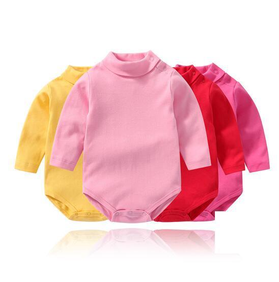 Baby Girl Pure Color High Collar Long Sleeve Cotton Bodysuit