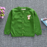 Toddler Girl Knit Cardigan Pure Color Sweater Plant Cactus Pattern