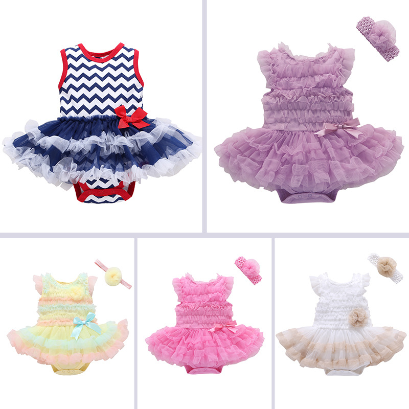 Baby Girl Pure Color Tutu Dress Cotton Bodysuit