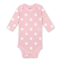 Baby Girl Pink Print White Dots Long Sleeve Cotton Bodysuit