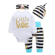 4PCS Baby Girl Gold Dots Long Sleeve Romper Pants Bodysuit Hat Headband Clothes Outfits Set