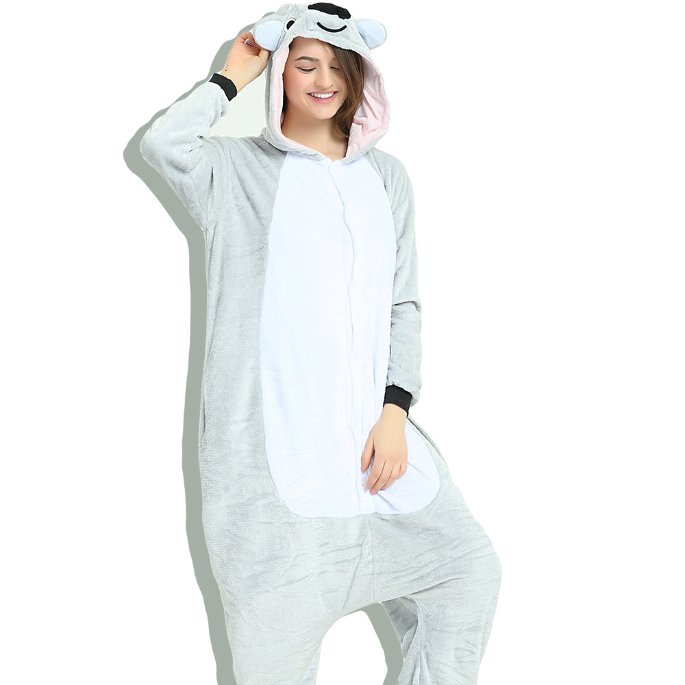 Unisex Adult Pajamas Grey Koala Animal Cosplay Costume Pajamas