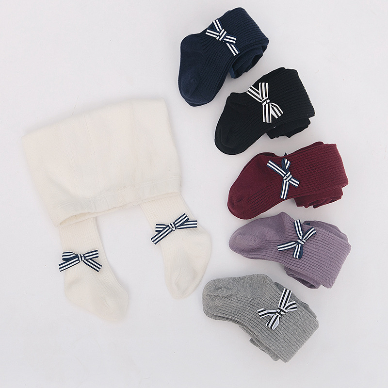 Baby Toddler Girls Tights Pantyhose With Bowknot Cotton Warm Leggings Stockings