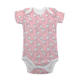 Baby Girl Pink Print Rabbits Short Sleeve Cotton Bodysuit
