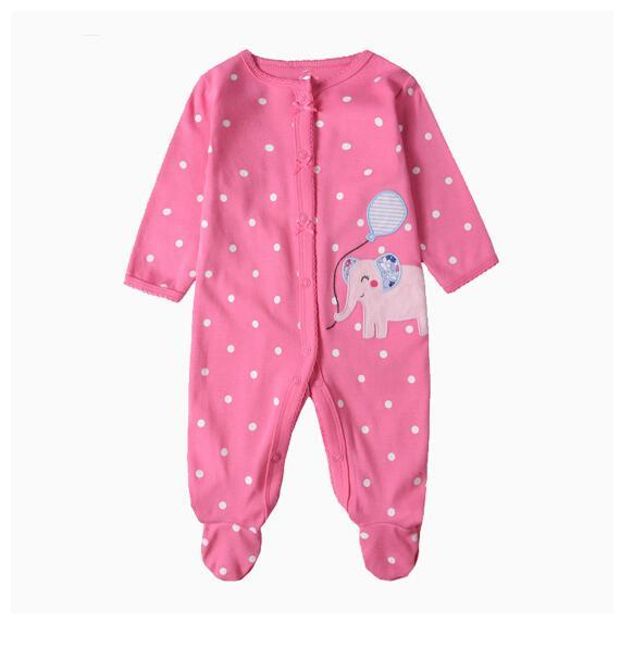 Baby Girl Snap-Up Pink Elephant Footed Cotton Long Sleeve One piece (0-1Years)