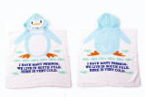Baby Blue Penguin Face Hooded Bathrobe Towel Bathrobe Cloak