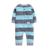 Baby Boy Hooded Zip-Up Navy Stripes Polar Fleece Long Sleeve One piece