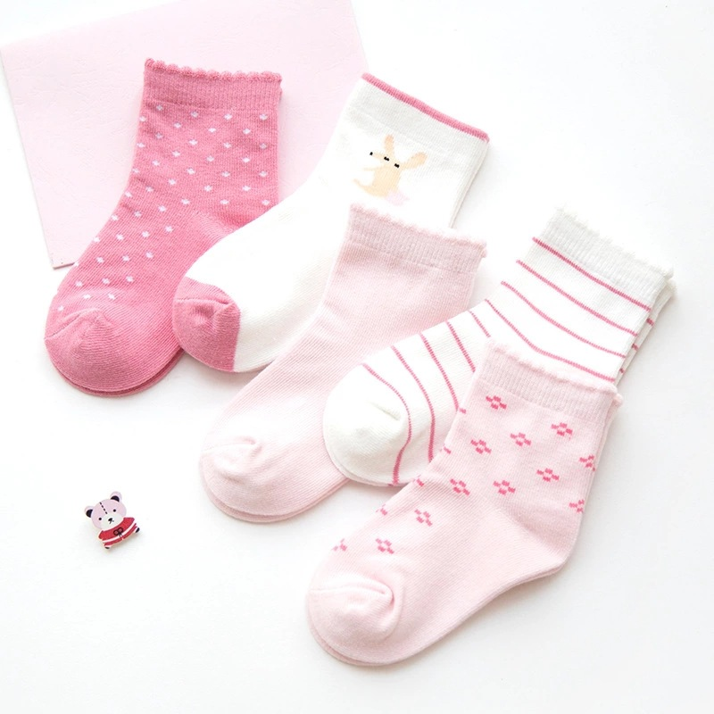 5 Pairs Baby Toddler Girls Pink Print Slogan Socks