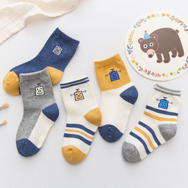 5 Pairs Baby Toddler Blue Stripes Socks
