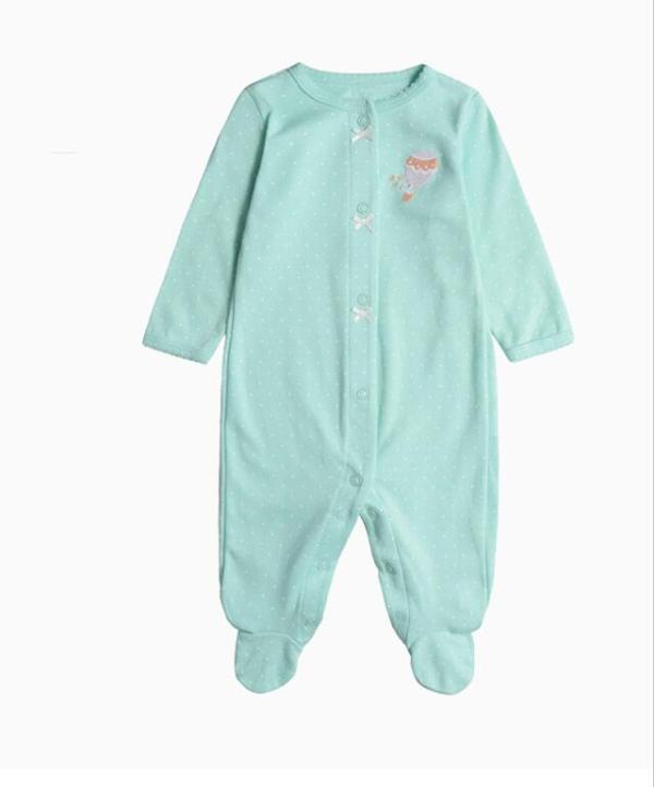 Baby Girl Snap-Up Green White Dots Footed Cotton Long Sleeve One piece (0-1Years)