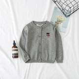 Toddler Girl Knit Cardigan Pure Color Sweater Bear Pattern