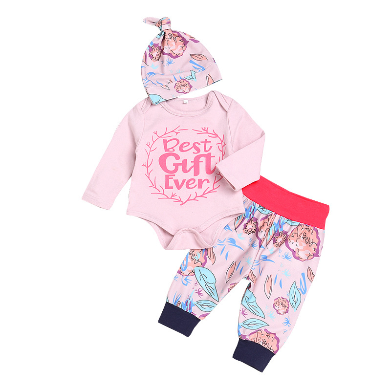 3PCS Baby Girl Print Slogan and Flower Long Sleeve Romper Pants Bodysuit Hat Clothes Outfits Set