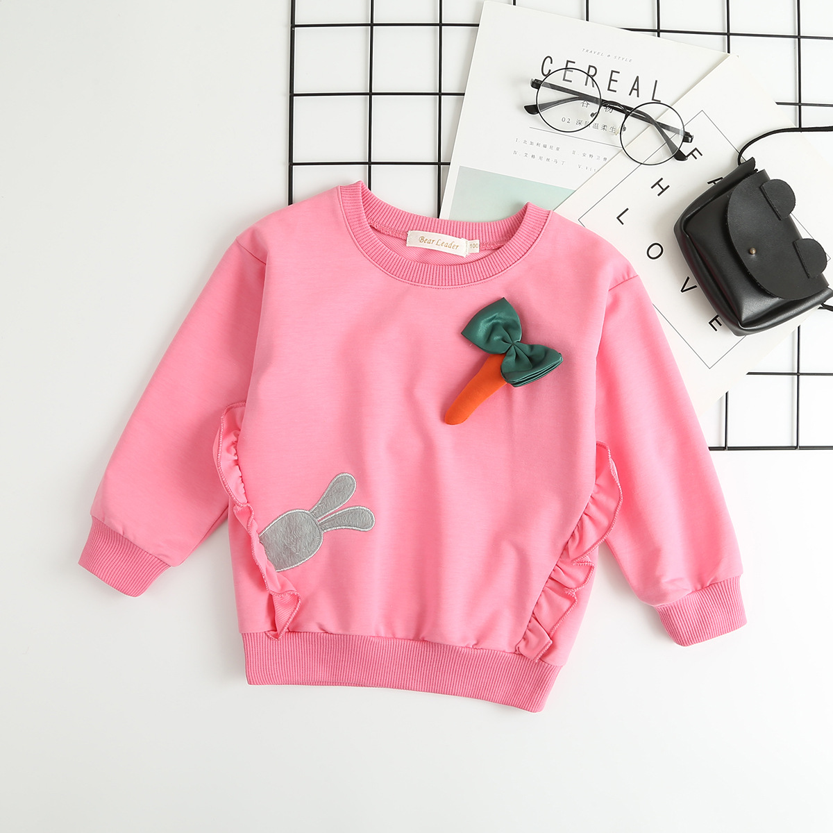 Toddler Girl Print Rabbit and Carrot Long Sleeve Sweatshirt