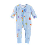Baby Boy Zip-Up Blue Print Space Cotton Long Sleeve One piece